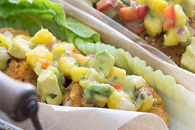 Sweet Potato Chickpea Wraps with Mango Avocado Salsa