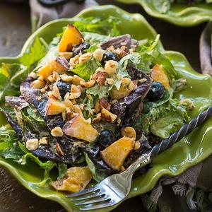 Blueberry Peach Salad with Vegan Creamy Basil Salad Dressing
