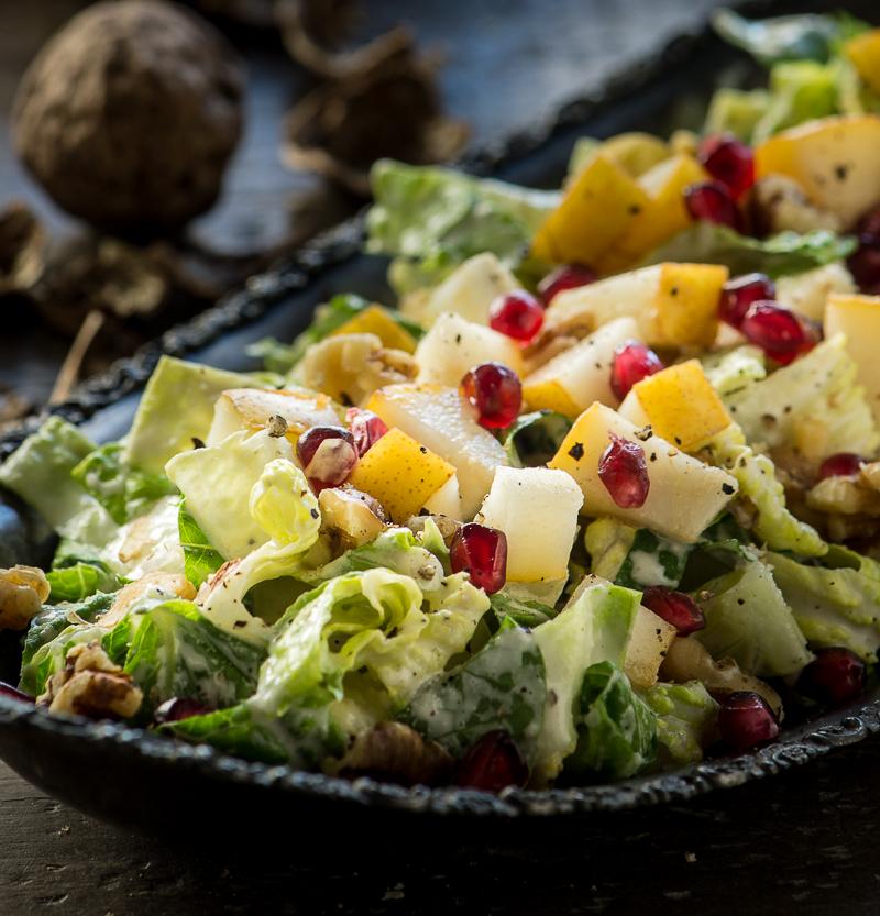 Pear, Walnut Pomegranate Salad with Maple Dijon Dressing