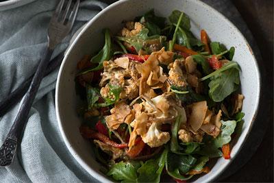 "Vegan ""Roasted"" Cauliflower Salad with Orange Miso Dressing"