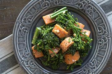 Sweet Potato Broccoli Salad with Garlic-Ginger Tahini Sauce